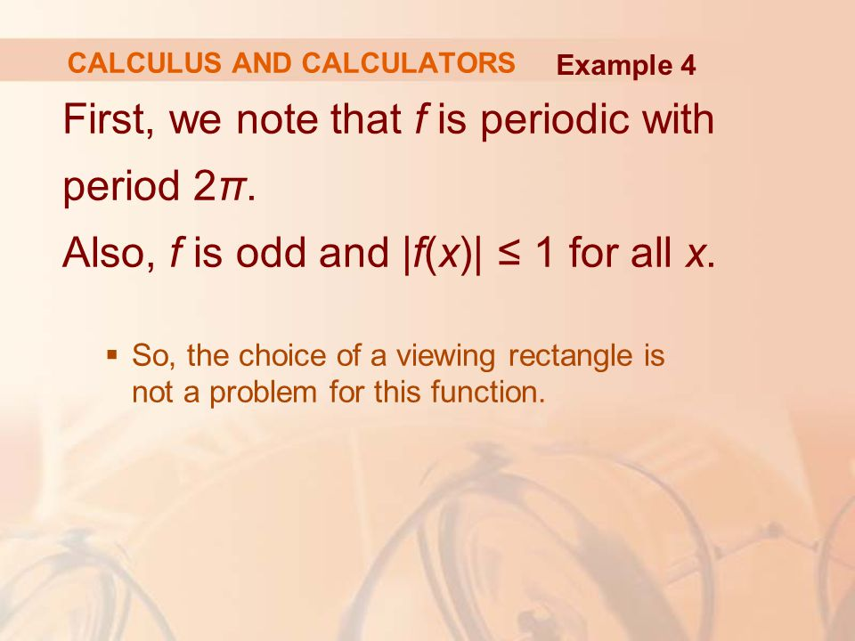 First, we note that f is periodic with period 2π. Also, f is odd and |f(x)| ≤ 1 for all x.  So, the choice of a viewing rectangle is not a problem fo