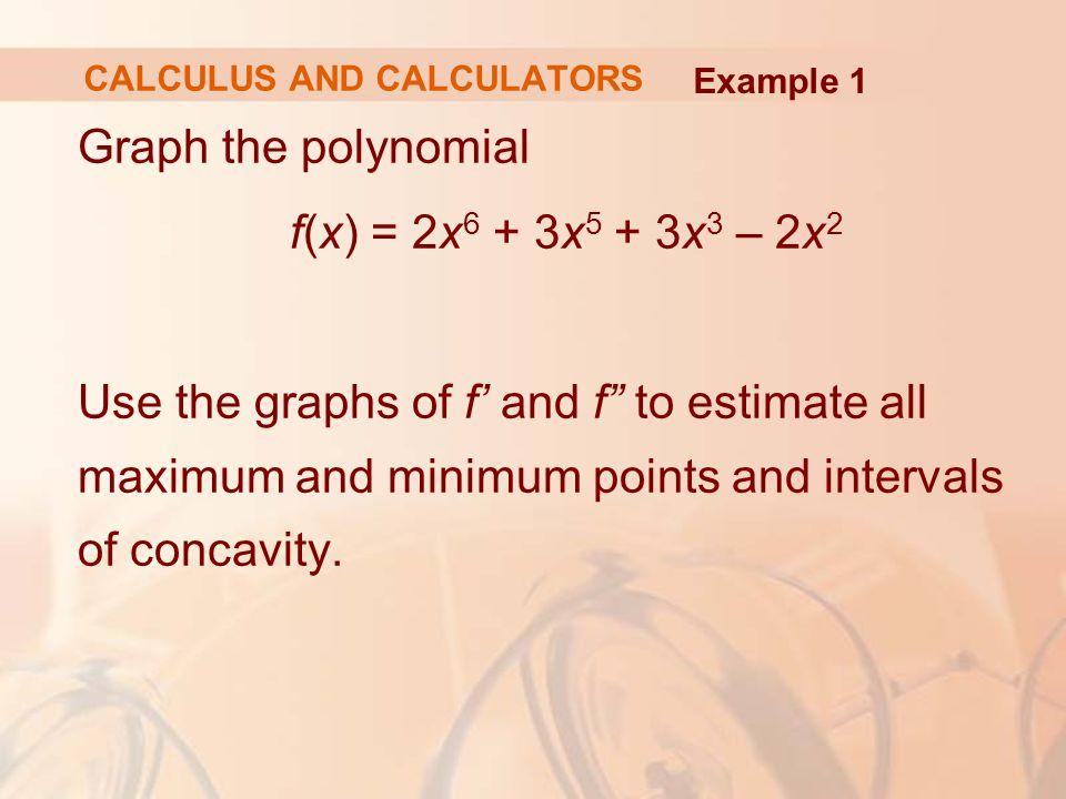 The second derivative is: f (x) = -(1 + 2 cos 2x) 2 sin(x + sin 2x) - 4 sin 2x cos(x + sin 2x) Example 4 CALCULUS AND CALCULATORS