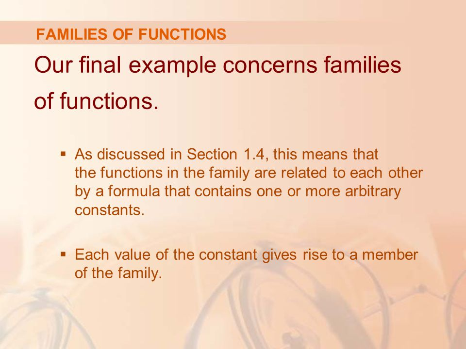 Our final example concerns families of functions.  As discussed in Section 1.4, this means that the functions in the family are related to each other