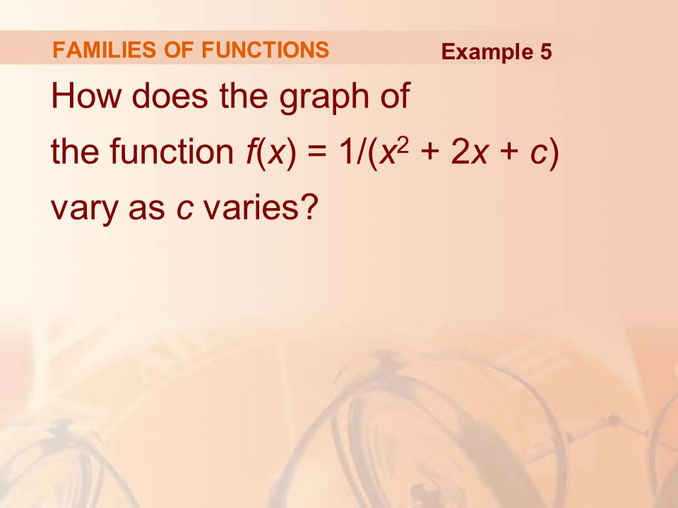 FAMILIES OF FUNCTIONS How does the graph of the function f(x) = 1/(x 2 + 2x + c) vary as c varies? Example 5