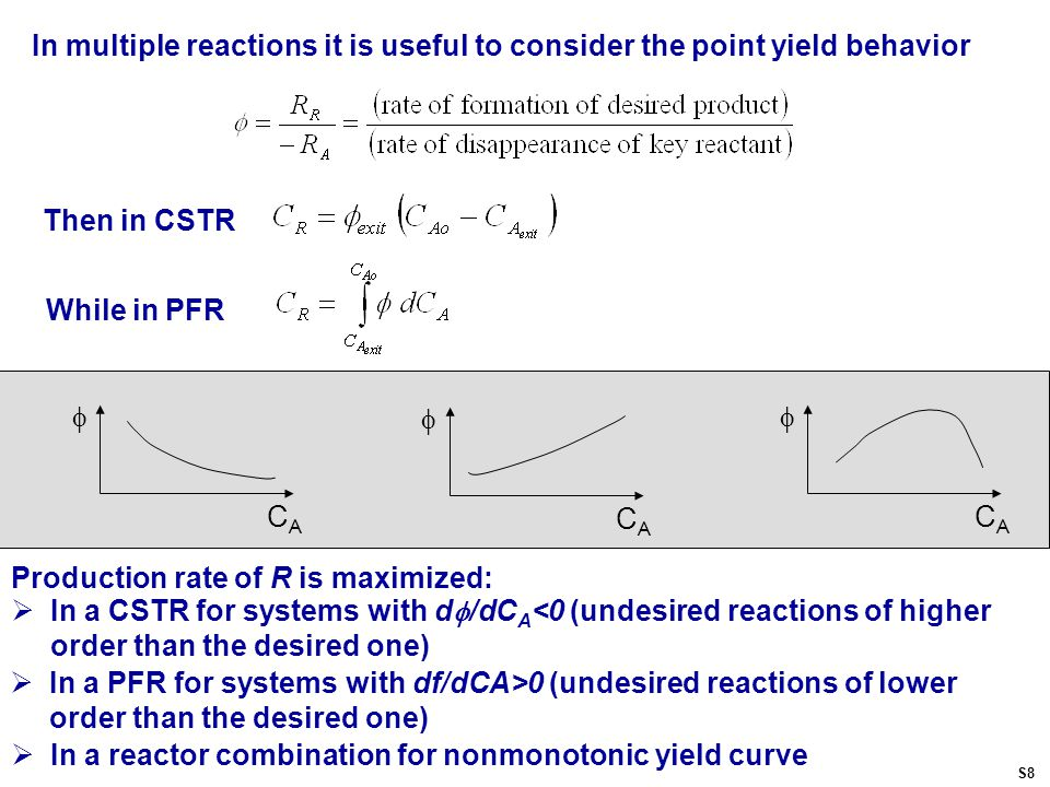 In multiple reactions it is useful to consider the point yield behavior Then in CSTR While in PFR Production rate of R is maximized:  In a CSTR for systems with d  /dC A <0 (undesired reactions of higher order than the desired one)  CACA  CACA  CACA  In a reactor combination for nonmonotonic yield curve  In a PFR for systems with df/dCA>0 (undesired reactions of lower order than the desired one) S8
