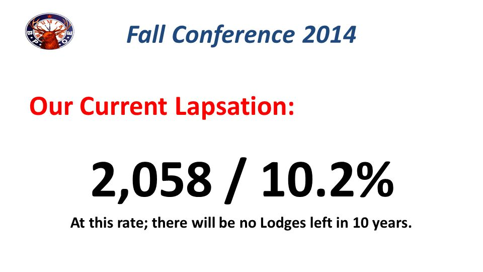 Our Current Lapsation: 2,058 / 10.2% At this rate; there will be no Lodges left in 10 years. Fall Conference 2014
