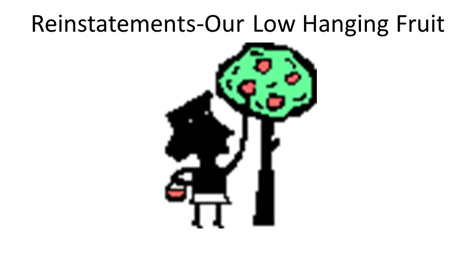 Reinstatements-Our Low Hanging Fruit