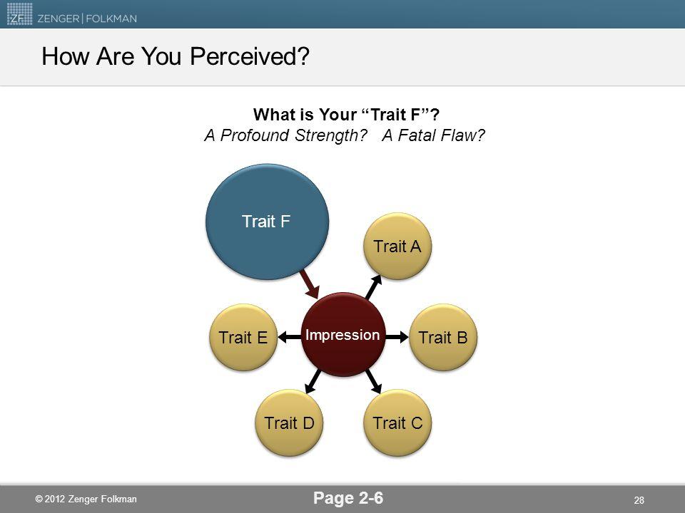 """© 2012 Zenger Folkman How Are You Perceived? Page 2-6 Trait B Trait E Trait A Trait D Trait C Impression Trait F What is Your """"Trait F""""? A Profound St"""