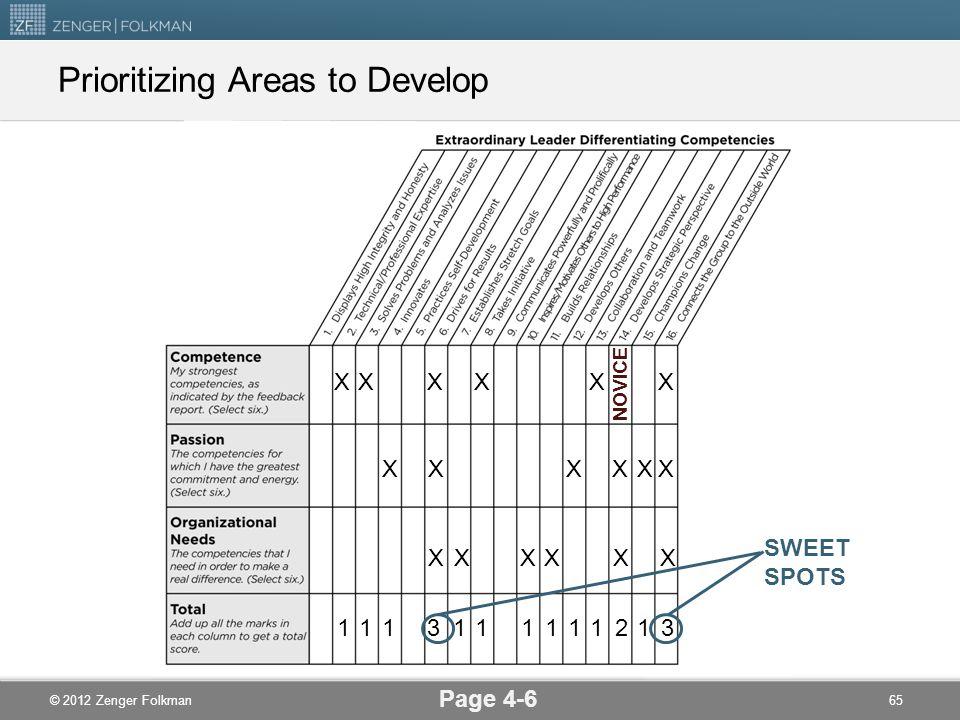 © 2012 Zenger Folkman XXX X X X X X X X XX XXXXXX NOVICE SWEET SPOTS Prioritizing Areas to Develop Page 4-6 65 3111311121111