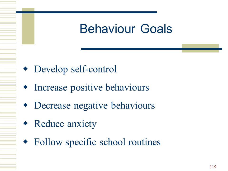 119  Develop self-control  Increase positive behaviours  Decrease negative behaviours  Reduce anxiety  Follow specific school routines Behaviour