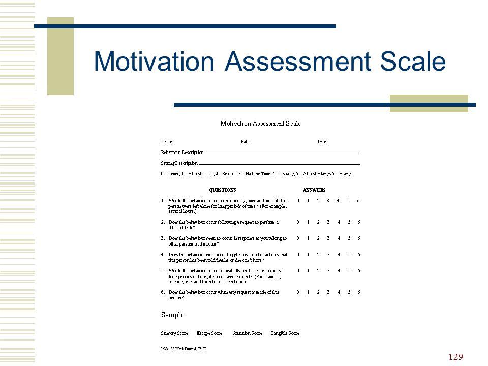 129 Motivation Assessment Scale