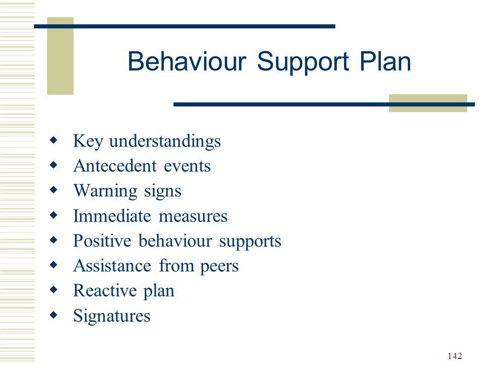 142 Behaviour Support Plan  Key understandings  Antecedent events  Warning signs  Immediate measures  Positive behaviour supports  Assistance fr