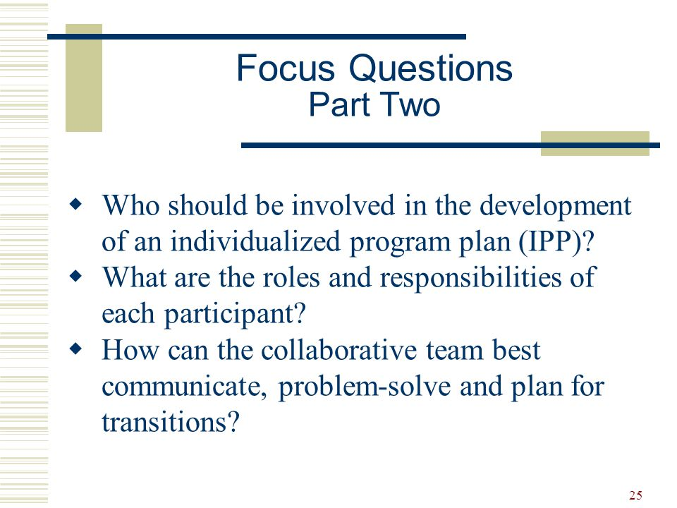25  Who should be involved in the development of an individualized program plan (IPP)?  What are the roles and responsibilities of each participant?