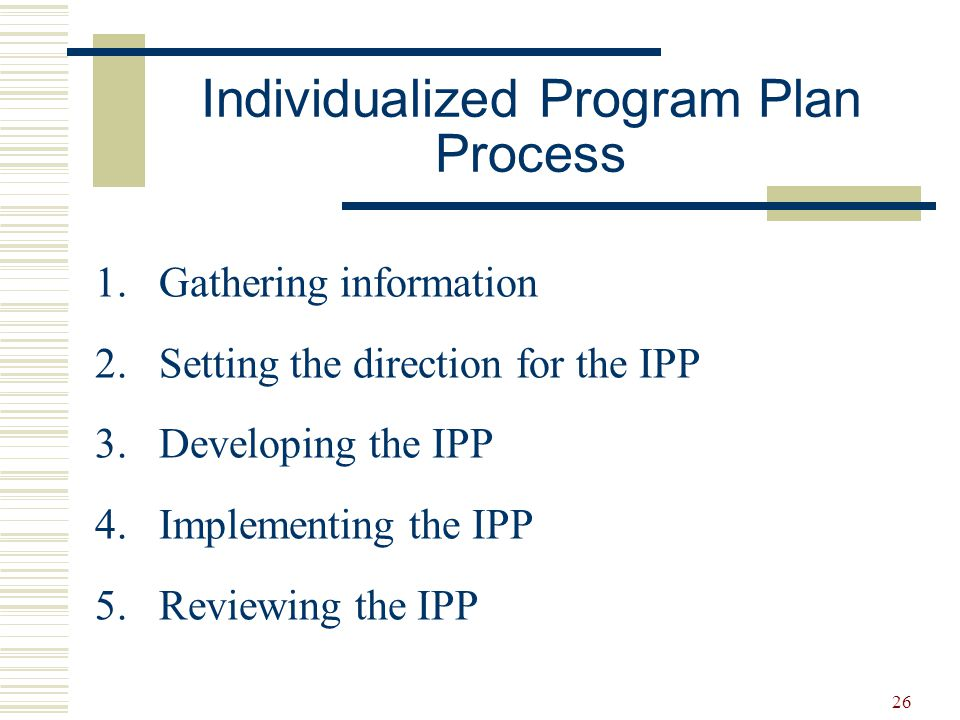 26 Individualized Program Plan Process 1.Gathering information 2.Setting the direction for the IPP 3.Developing the IPP 4.Implementing the IPP 5.Revie