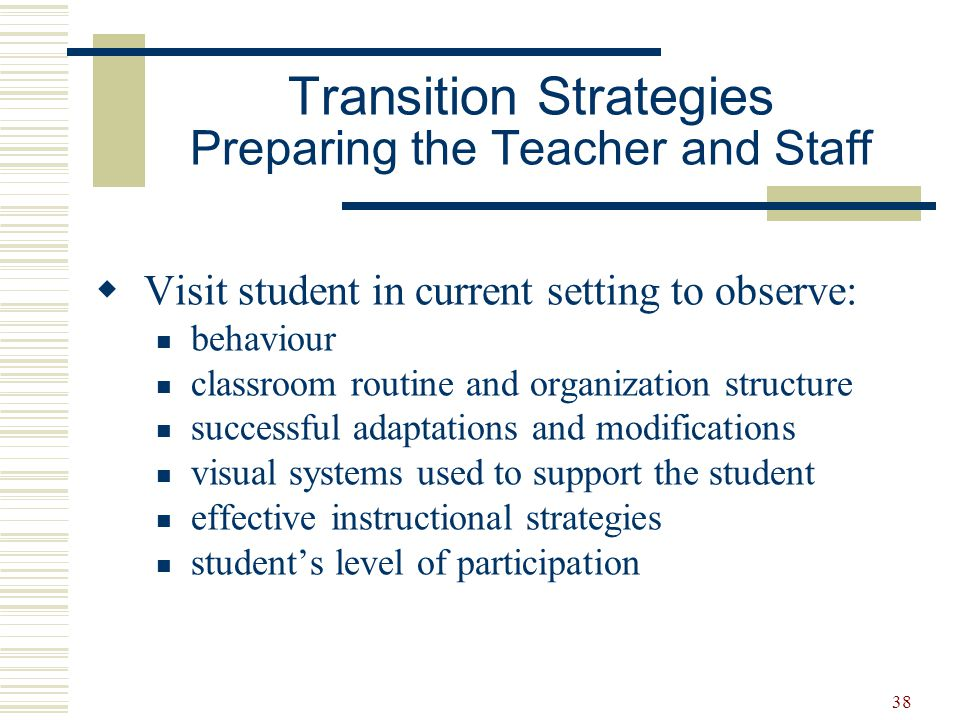 38  Visit student in current setting to observe: behaviour classroom routine and organization structure successful adaptations and modifications visu
