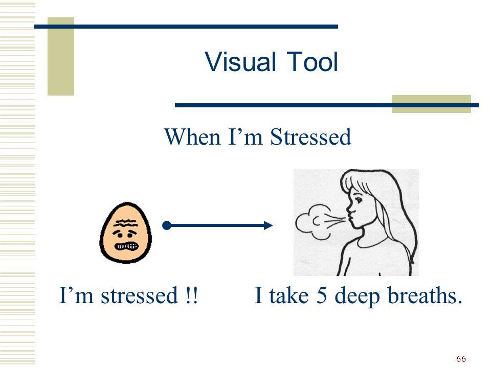 66 When I'm Stressed I'm stressed !!I take 5 deep breaths. Visual Tool