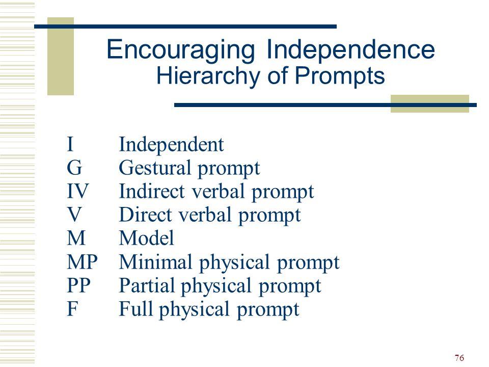 76 IIndependent G Gestural prompt IVIndirect verbal prompt VDirect verbal prompt MModel MPMinimal physical prompt PP Partial physical prompt FFull phy