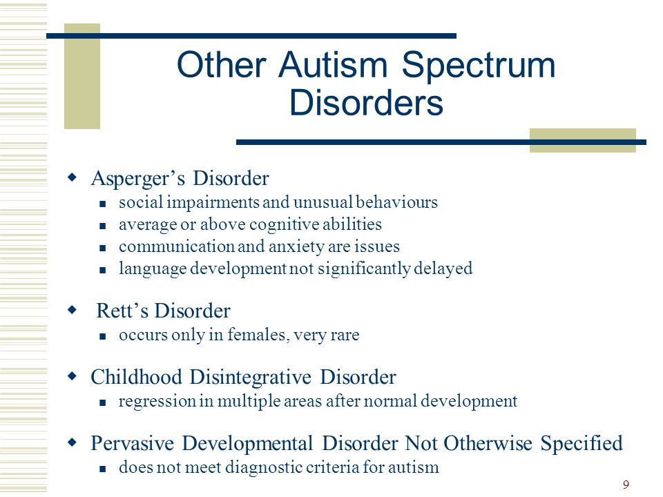 9  Asperger's Disorder social impairments and unusual behaviours average or above cognitive abilities communication and anxiety are issues language d