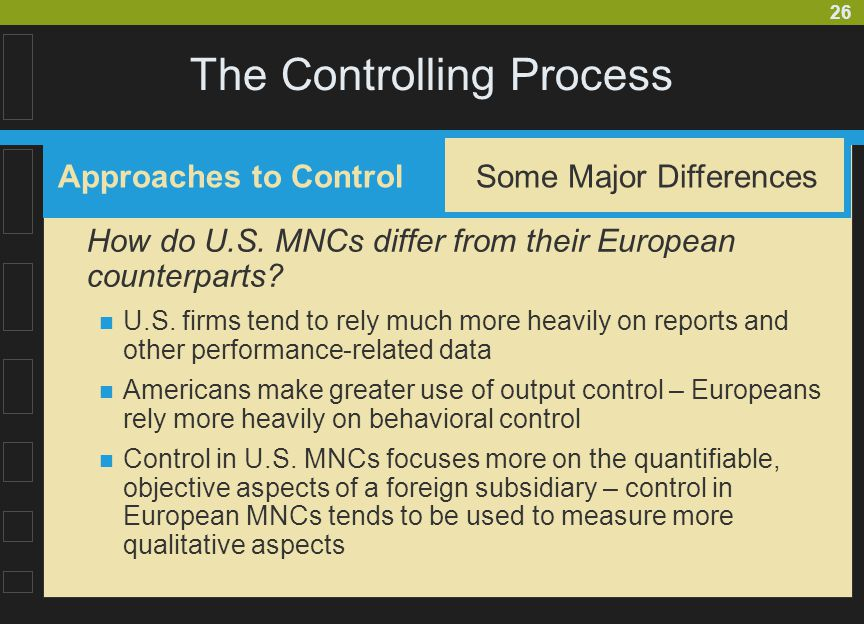 26 The Controlling Process How do U.S.MNCs differ from their European counterparts.