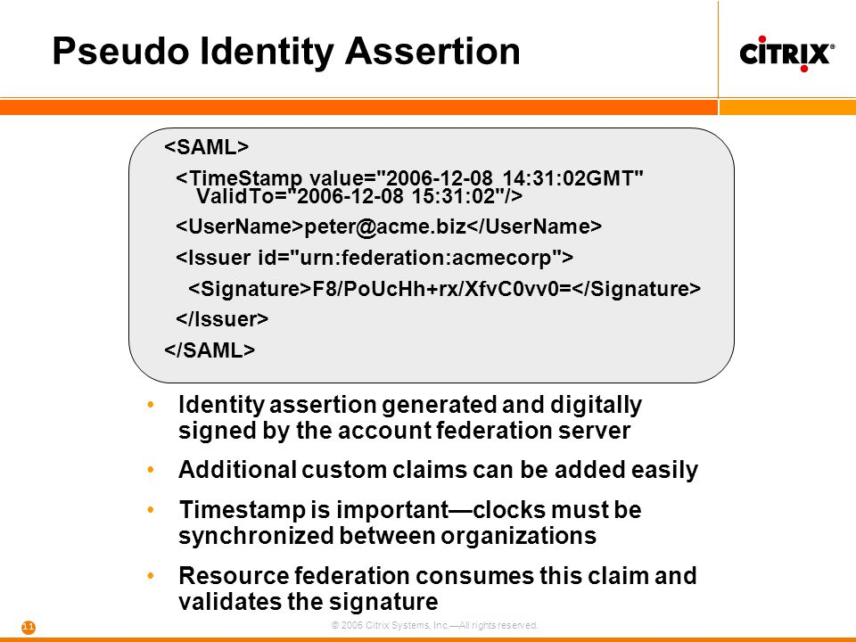 © 2005 Citrix Systems, Inc.—All rights reserved. 11 Pseudo Identity Assertion peter@acme.biz F8/PoUcHh+rx/XfvC0vv0= Identity assertion generated and d