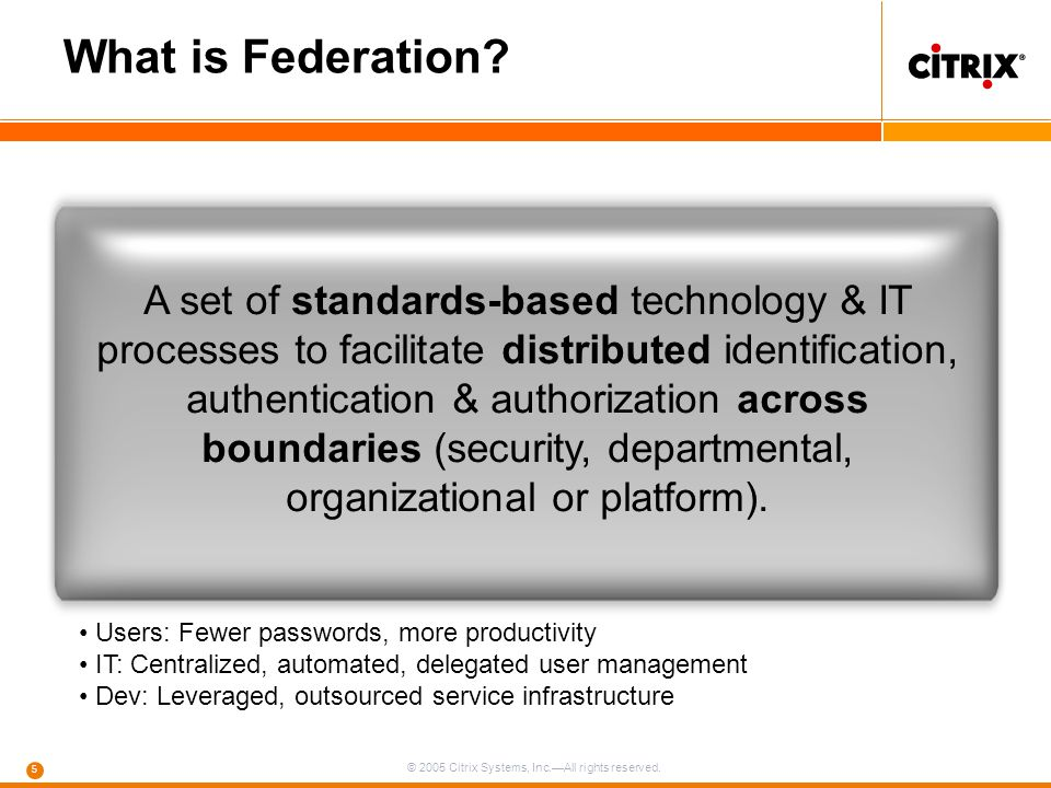 © 2005 Citrix Systems, Inc.—All rights reserved. 5 What is Federation? A set of standards-based technology & IT processes to facilitate distributed id
