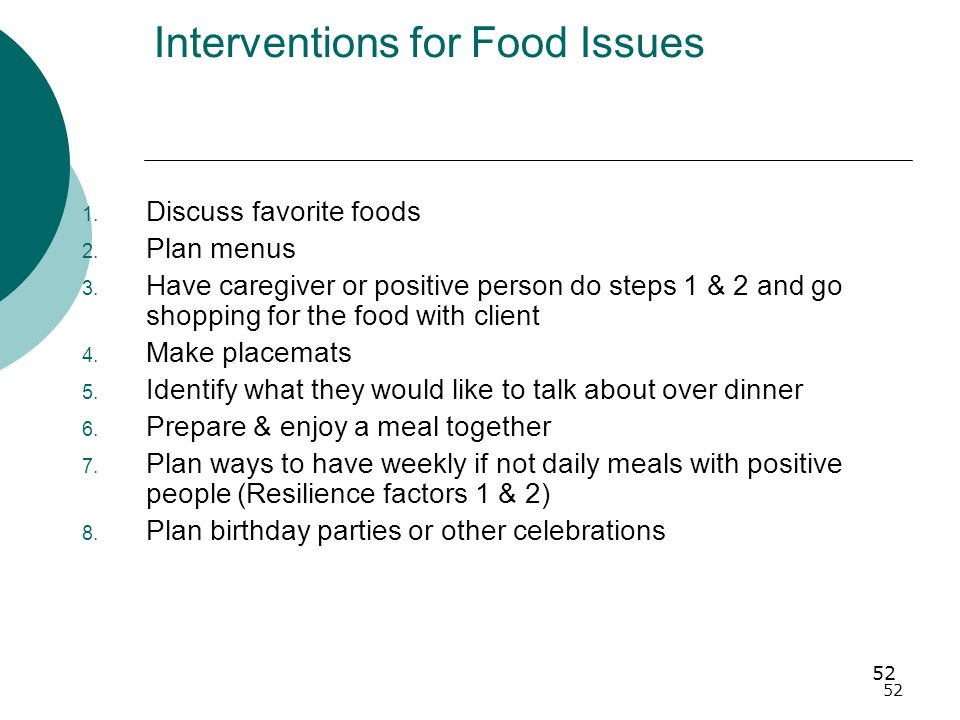 52 Interventions for Food Issues 1.Discuss favorite foods 2.