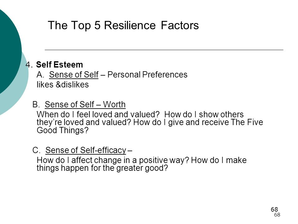 68 The Top 5 Resilience Factors 4.Self Esteem A.
