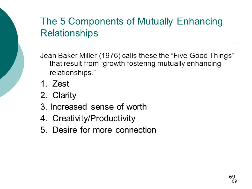 69 The 5 Components of Mutually Enhancing Relationships Jean Baker Miller (1976) calls these the Five Good Things that result from growth fostering mutually enhancing relationships. 1.