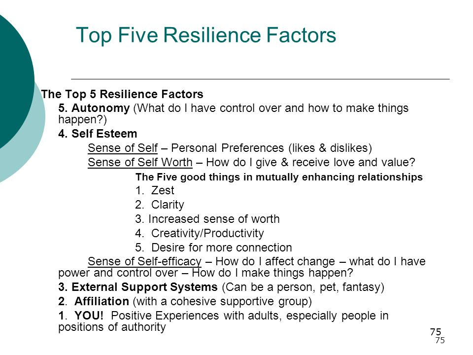 75 Top Five Resilience Factors The Top 5 Resilience Factors 5.