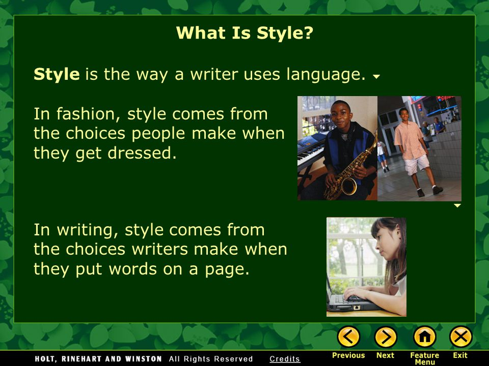 What Is Style? Figures of Speech Irony Imagery Dialect Practice Elements of Style: Literary Devices Feature Menu