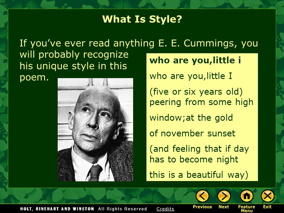 What Is Style? If you've read anything by Dr. Seuss, you will know that this poem was written by him. from Green Eggs and Ham I would not like them he