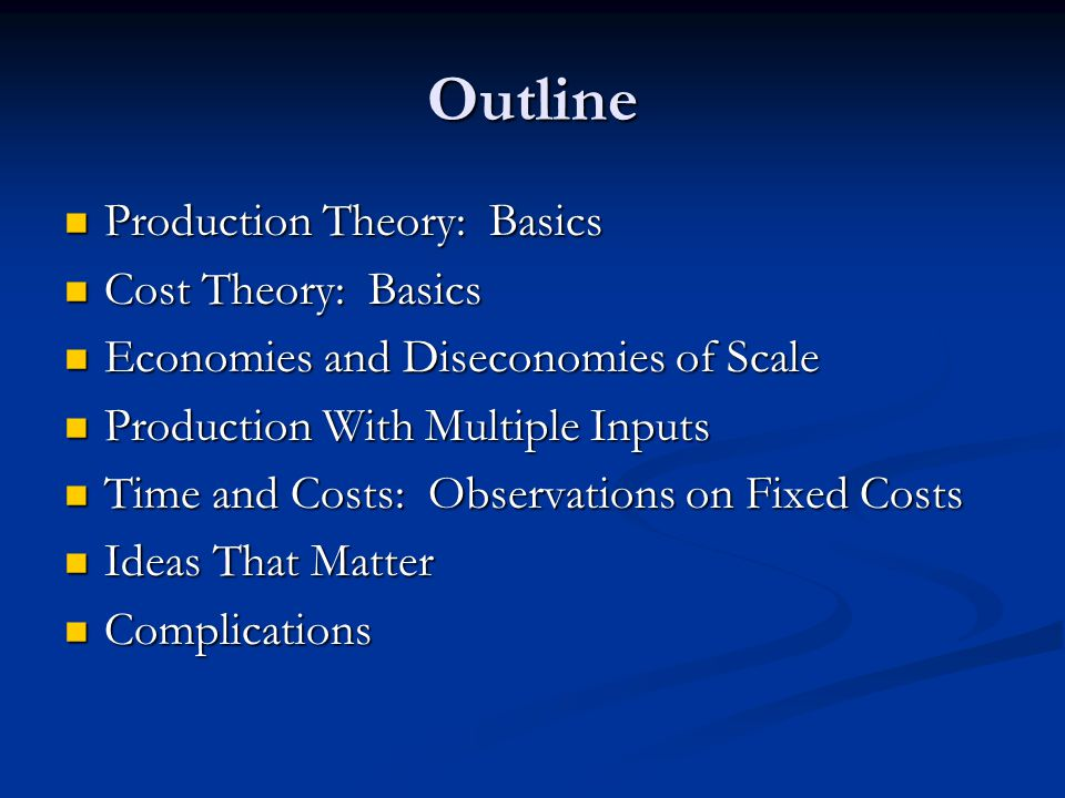 Outline Production Theory: Basics Production Theory: Basics Cost Theory: Basics Cost Theory: Basics Economies and Diseconomies of Scale Economies and