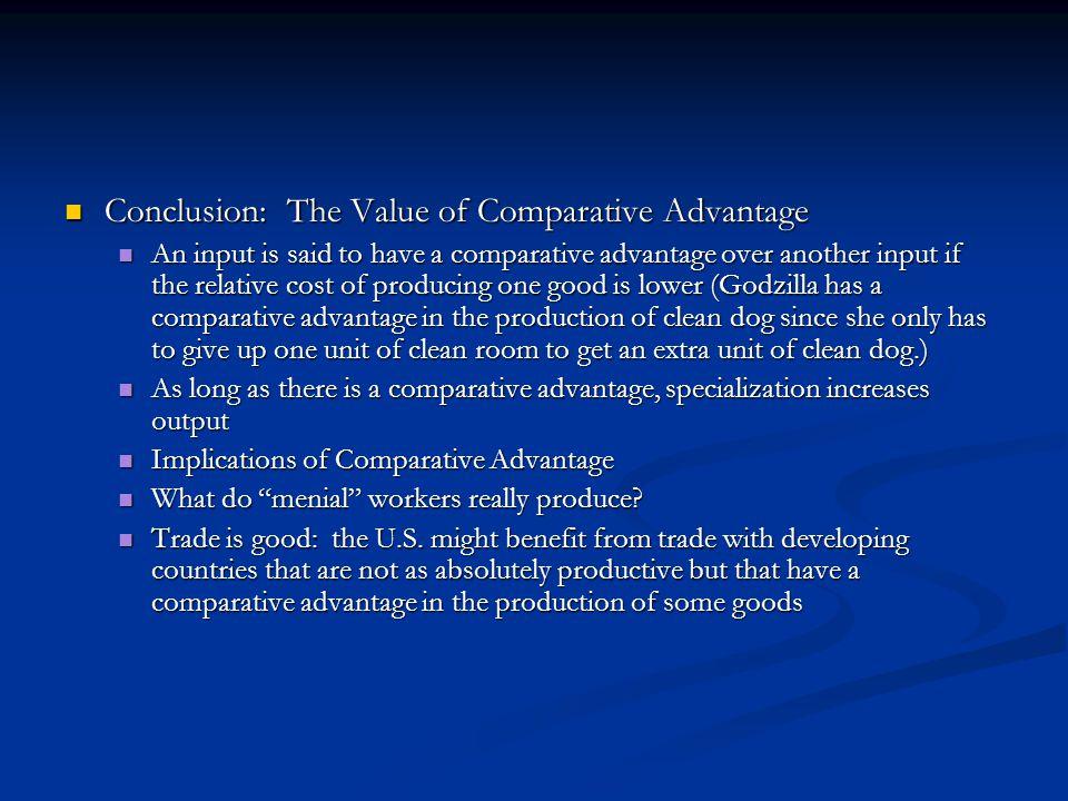 Conclusion: The Value of Comparative Advantage Conclusion: The Value of Comparative Advantage An input is said to have a comparative advantage over an