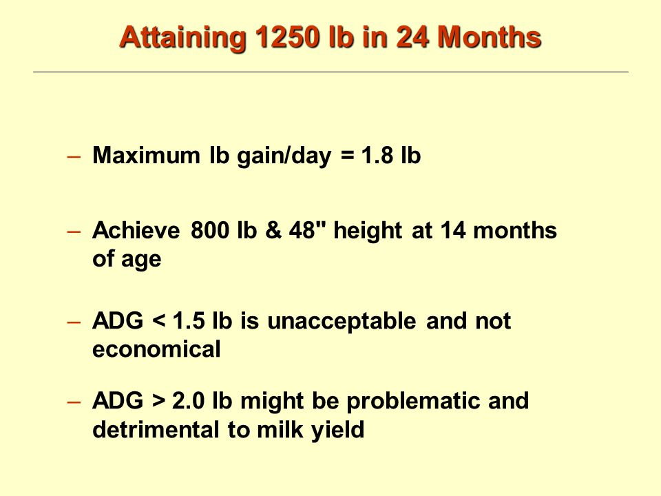 Attaining 1250 lb in 24 Months ADG of ---------------------from birth to pre- calving (~1350 lb.) Sexual maturity of Holstein heifers begins at ~ ------------------------------ (around 9-10 months of age)