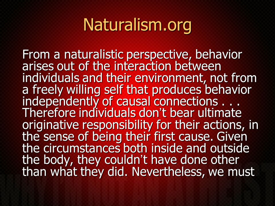 Naturalism.org From a naturalistic perspective, behavior arises out of the interaction between individuals and their environment, not from a freely willing self that produces behavior independently of causal connections...
