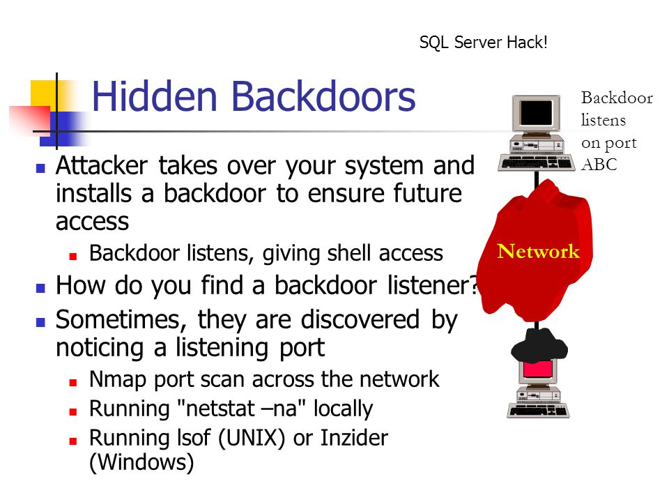 Hidden Backdoors Attacker takes over your system and installs a backdoor to ensure future access Backdoor listens, giving shell access How do you find