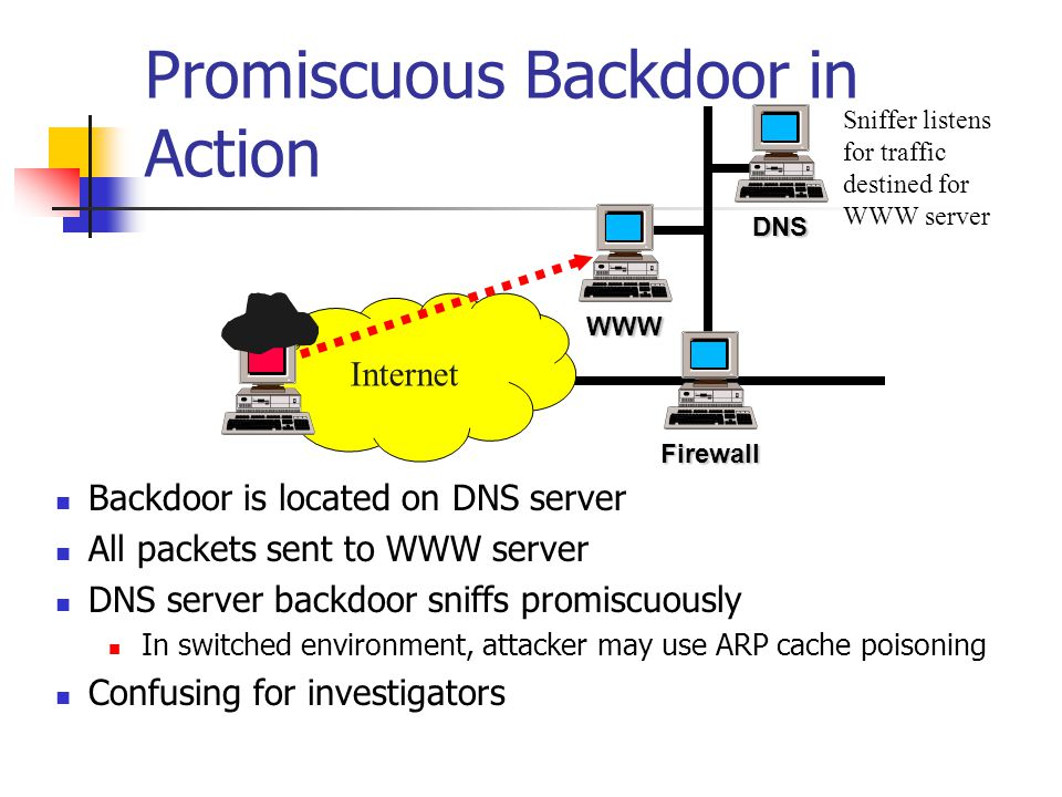 Promiscuous Backdoor in Action Backdoor is located on DNS server All packets sent to WWW server DNS server backdoor sniffs promiscuously In switched e