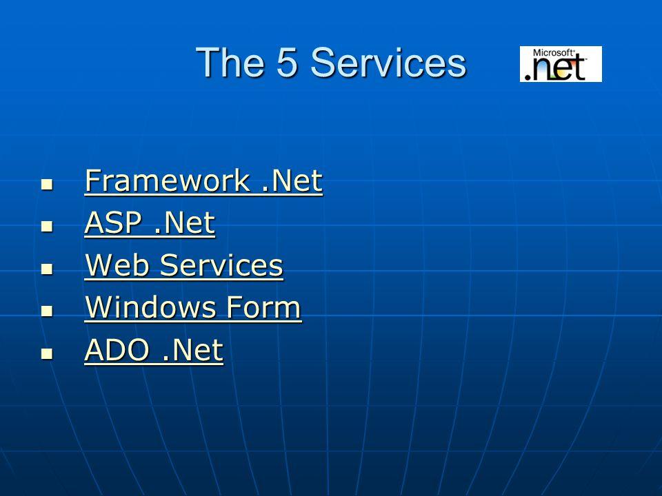 The 5 Services Framework.Net Framework.Net Framework.Net Framework.Net ASP.Net ASP.Net ASP.Net ASP.Net Web Services Web Services Web Services Web Services Windows Form Windows Form Windows Form Windows Form ADO.Net ADO.Net ADO.Net ADO.Net