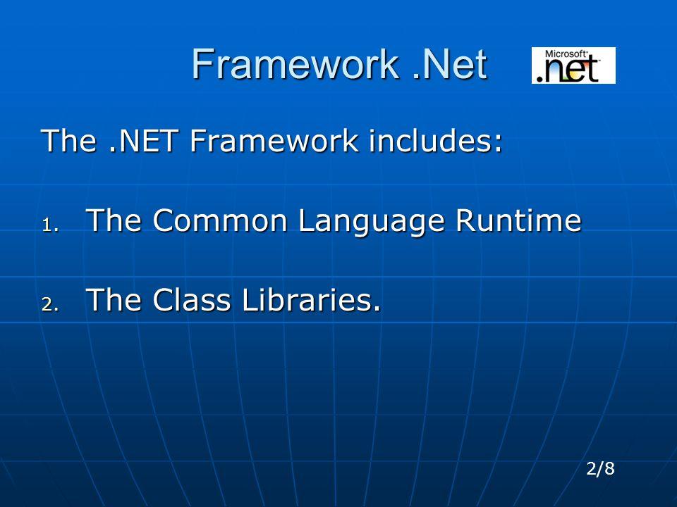 Framework.Net The.NET Framework includes: 1. The Common Language Runtime 2.