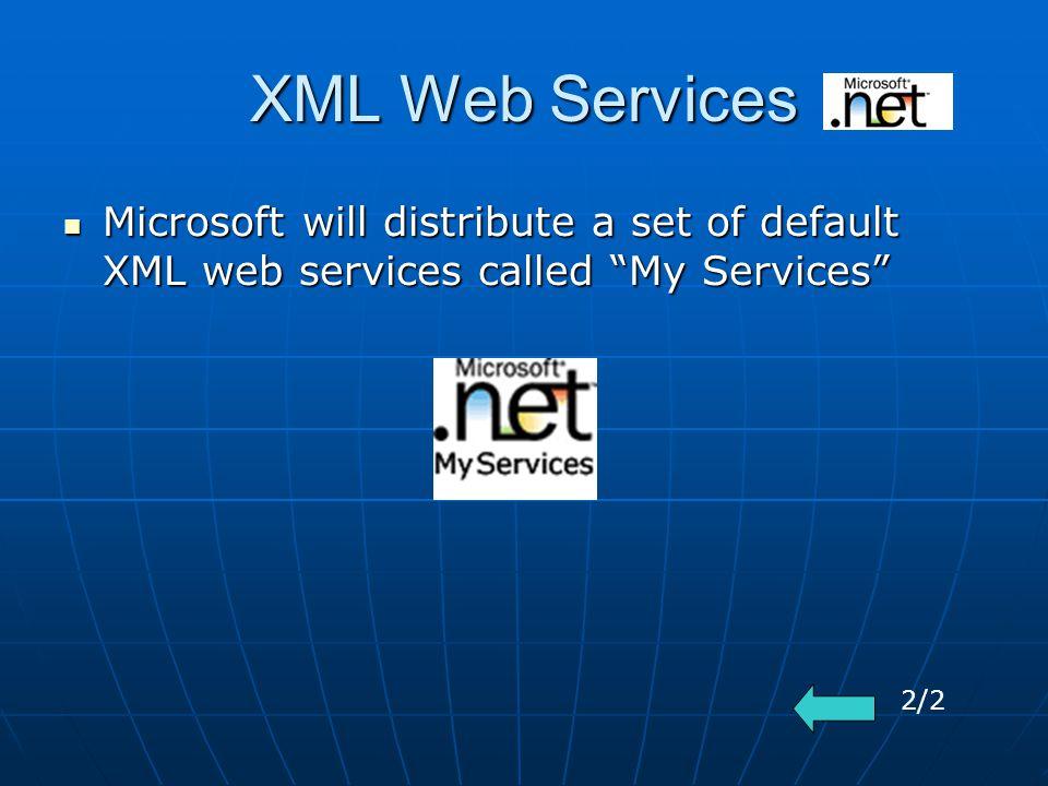 XML Web Services Microsoft will distribute a set of default XML web services called My Services Microsoft will distribute a set of default XML web services called My Services 2/2
