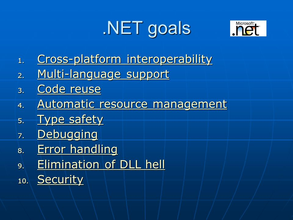 C# Language which is equivalent (with the exception of portability) to Java Available as a programming language within the Visual Studio.NET environment.