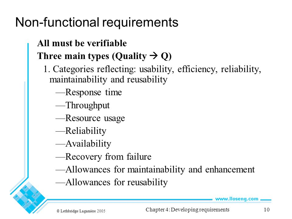 © Lethbridge/Laganière 2005 Chapter 4: Developing requirements10 Non-functional requirements All must be verifiable Three main types (Quality  Q) 1.