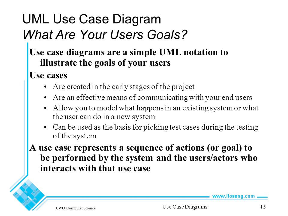 UWO Computer Science Use Case Diagrams15 UML Use Case Diagram What Are Your Users Goals.
