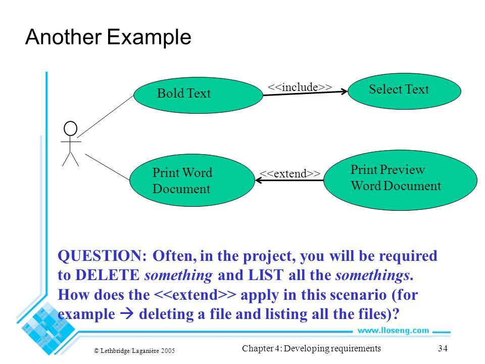 Another Example © Lethbridge/Laganière 2005 Chapter 4: Developing requirements34 Bold Text Select Text Print Word Document Print Preview Word Document > QUESTION: Often, in the project, you will be required to DELETE something and LIST all the somethings.