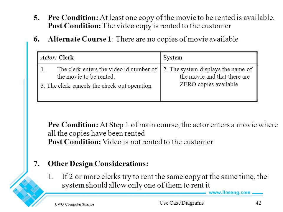 UWO Computer Science Use Case Diagrams42 5.Pre Condition: At least one copy of the movie to be rented is available.