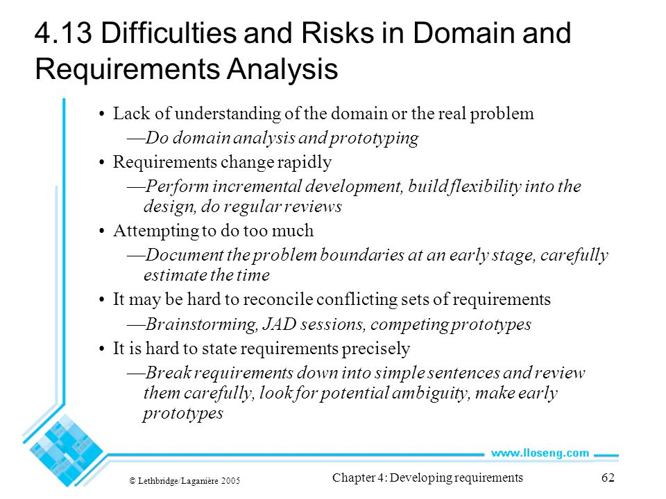 © Lethbridge/Laganière 2005 Chapter 4: Developing requirements62 4.13 Difficulties and Risks in Domain and Requirements Analysis Lack of understanding of the domain or the real problem —Do domain analysis and prototyping Requirements change rapidly —Perform incremental development, build flexibility into the design, do regular reviews Attempting to do too much —Document the problem boundaries at an early stage, carefully estimate the time It may be hard to reconcile conflicting sets of requirements —Brainstorming, JAD sessions, competing prototypes It is hard to state requirements precisely —Break requirements down into simple sentences and review them carefully, look for potential ambiguity, make early prototypes