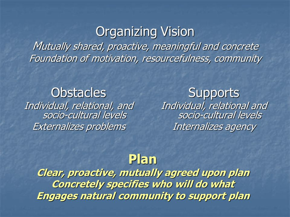 Organizing Vision M utually shared, proactive, meaningful and concrete Foundation of motivation, resourcefulness, community Obstacles Individual, rela