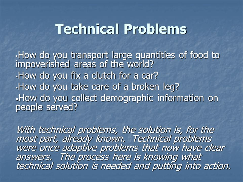 Technical Problems How do you transport large quantities of food to impoverished areas of the world? How do you transport large quantities of food to