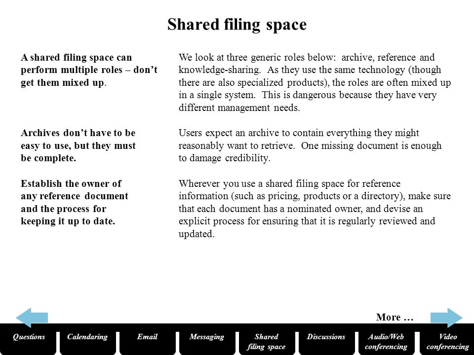 QuestionsCalendaringEmailMessagingShared filing space Audio/Web conferencing Video conferencing Discussions Shared filing space A shared filing space can perform multiple roles – don't get them mixed up.