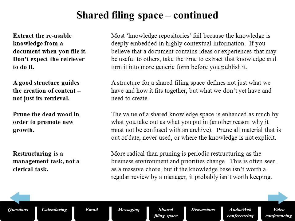 QuestionsCalendaringEmailMessagingShared filing space Audio/Web conferencing Video conferencing Discussions Don't discourage trivia – displace it.