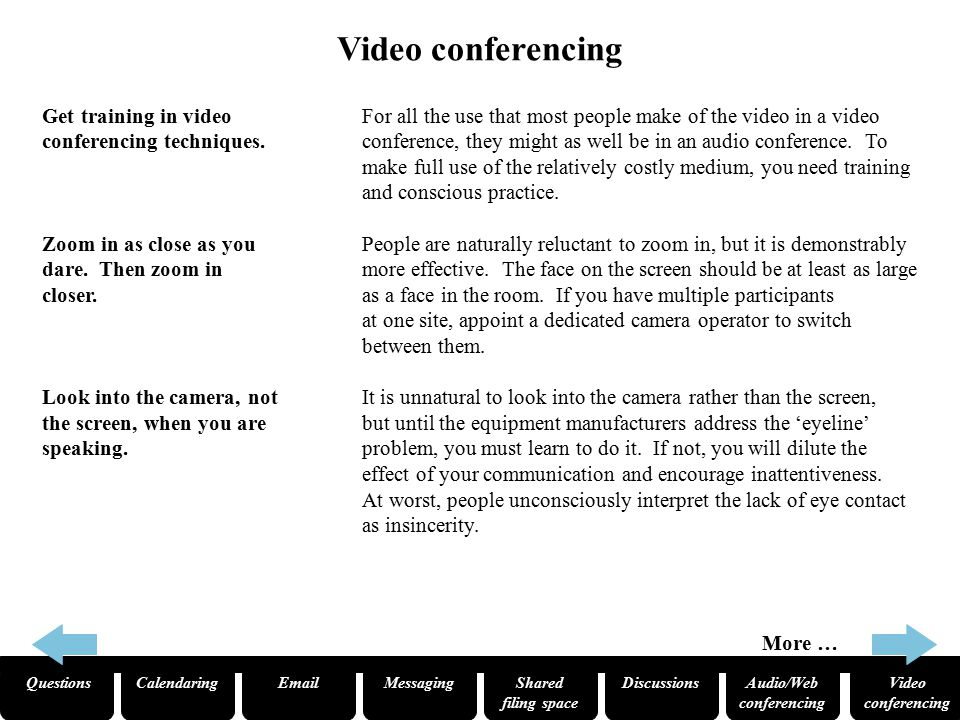 QuestionsCalendaringEmailMessagingShared filing space Audio/Web conferencing Video conferencing Discussions Video conferencing – continued To appear natural, you must practise unnatural acts.