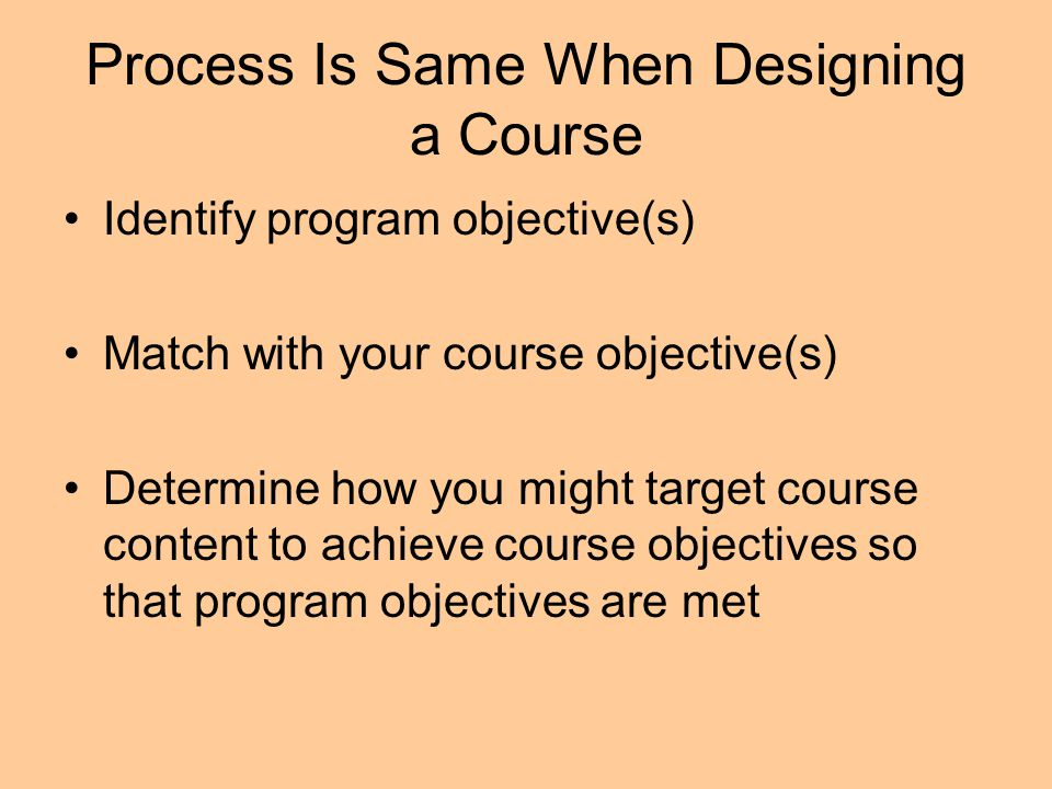 Process Is Same When Designing a Course Identify program objective(s) Match with your course objective(s) Determine how you might target course conten