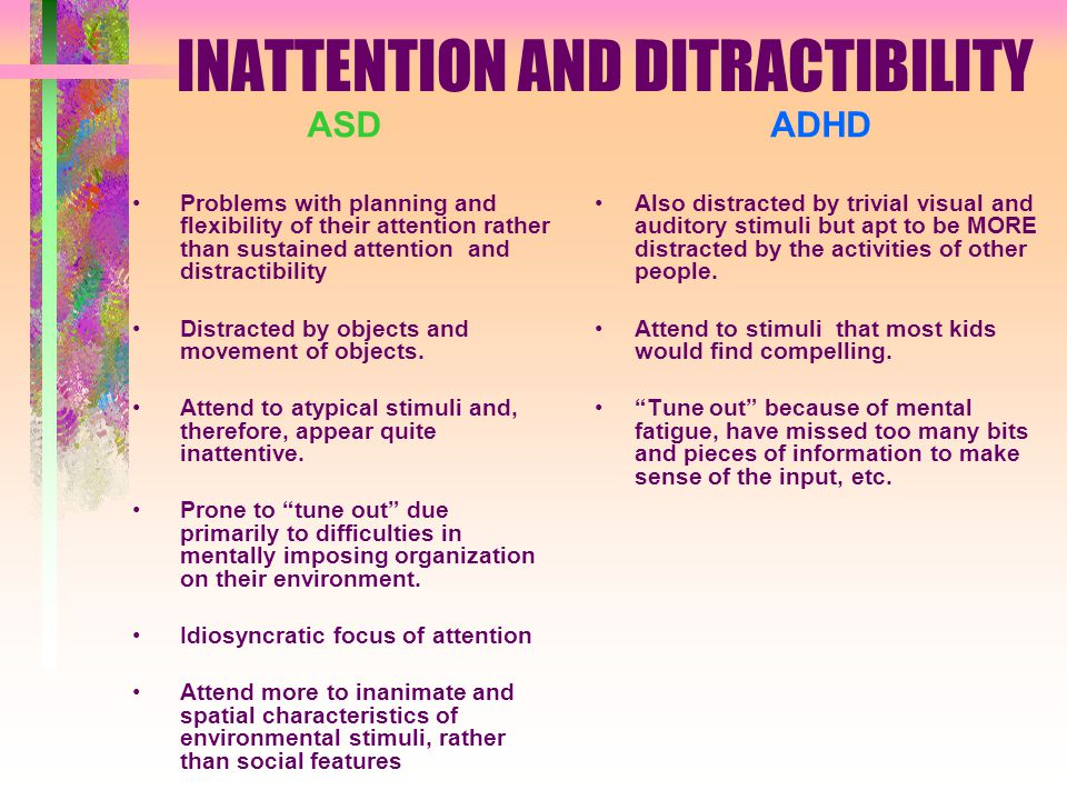 INATTENTION AND DITRACTIBILITY ASD Problems with planning and flexibility of their attention rather than sustained attention and distractibility Distracted by objects and movement of objects.