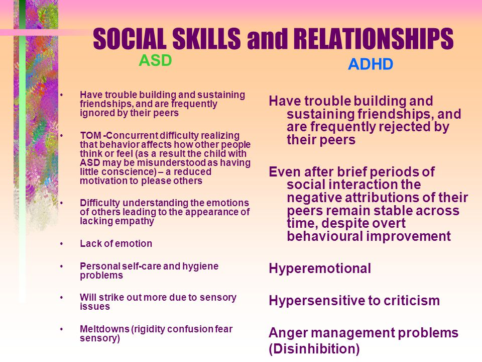 SOCIAL SKILLS and RELATIONSHIPS ASD Have trouble building and sustaining friendships, and are frequently ignored by their peers TOM -Concurrent difficulty realizing that behavior affects how other people think or feel (as a result the child with ASD may be misunderstood as having little conscience) – a reduced motivation to please others Difficulty understanding the emotions of others leading to the appearance of lacking empathy Lack of emotion Personal self-care and hygiene problems Will strike out more due to sensory issues Meltdowns (rigidity confusion fear sensory) ADHD Have trouble building and sustaining friendships, and are frequently rejected by their peers Even after brief periods of social interaction the negative attributions of their peers remain stable across time, despite overt behavioural improvement Hyperemotional Hypersensitive to criticism Anger management problems (Disinhibition)